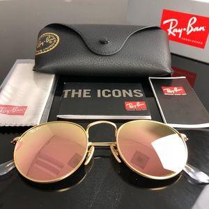 Rayban 50mm Round Gold Flash Pink Sunglasses NWT
